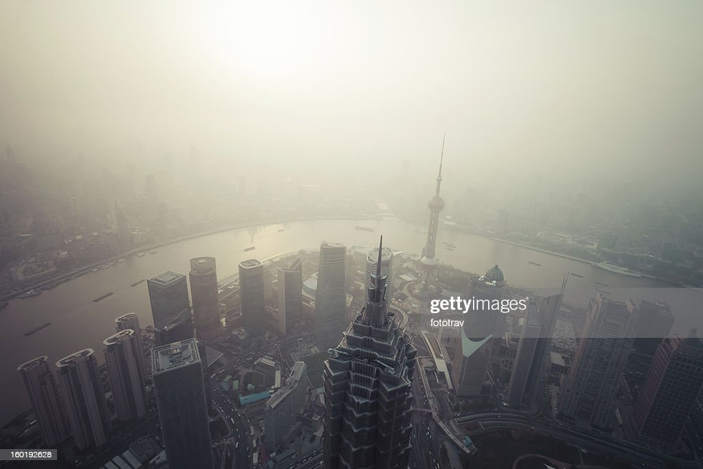 Chinese Air pollution, Shanghai, China : Stock Photo