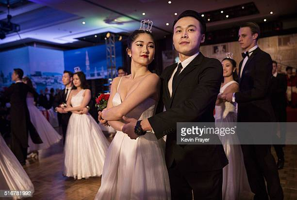 Chinese and foreign debutantes dance during the Vienna Ball at the Kempinski Hotel on March 19 2016 in Beijing China The ball which is an event...