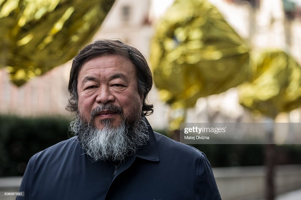 Chinese artist <a gi-track='captionPersonalityLinkClicked' href=/galleries/search?phrase=Ai+Weiwei&family=editorial&specificpeople=4331218 ng-click='$event.stopPropagation()'>Ai Weiwei</a> attends a gathering with media in front of the Trade Fair Palace run by the National Gallery on February 5, 2016 in Prague, Czech Republic. <a gi-track='captionPersonalityLinkClicked' href=/galleries/search?phrase=Ai+Weiwei&family=editorial&specificpeople=4331218 ng-click='$event.stopPropagation()'>Ai Weiwei</a> spoke to the media ahead of his 'Circle of Animals / Zodiac Heads' sculpture exhibition in front of the palace which runs from February 6 to August 31, 2016. <a gi-track='captionPersonalityLinkClicked' href=/galleries/search?phrase=Ai+Weiwei&family=editorial&specificpeople=4331218 ng-click='$event.stopPropagation()'>Ai Weiwei</a> wrapped his bronze heads with thermal blankets to protest against migrants situation in Europe. It is the first time that the artist exhibits his work in the Czech Republic.