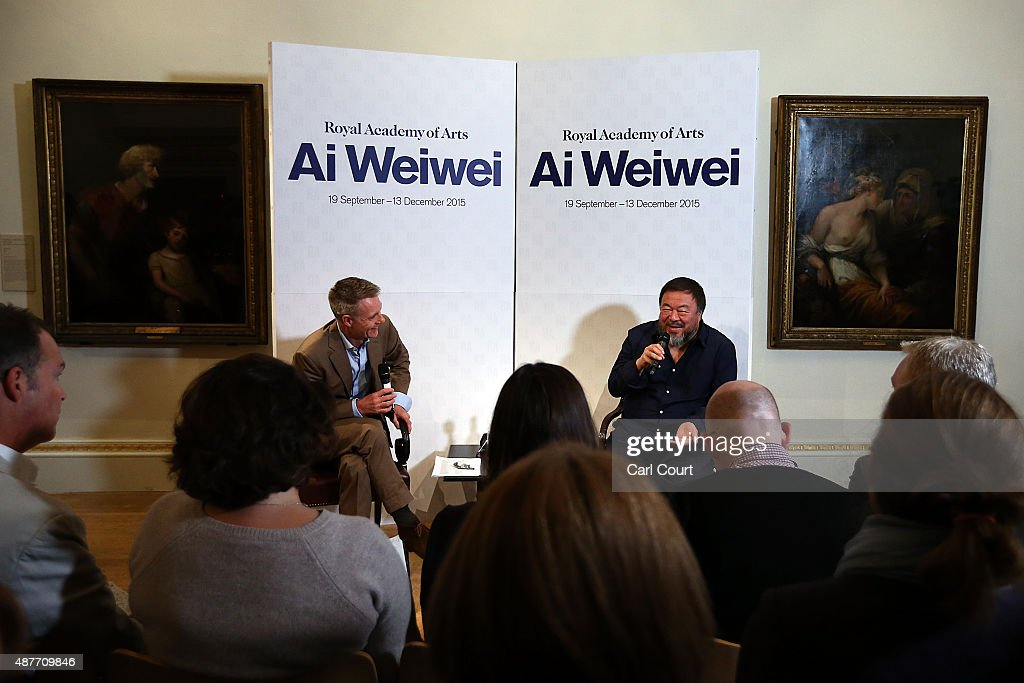Chinese artist Ai Weiwei attends a press conference at the Royal Academy of Arts on September 11, 2015 in London, England. Ai Weiwei speaks to the media ahead of his forthcoming exhibition at the Academy which runs from September 19 to December 13, 2015.