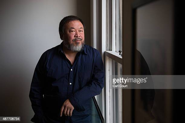 Chinese artist Ai Weiwei poses for a photograph after a press conference at the Royal Academy of Arts on September 11 2015 in London England Ai...