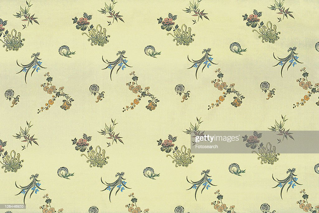 Chinese, Backgrounds, Floral Pattern, Design, Close-Up, Cloth, Chinese Cloths : Stock Photo