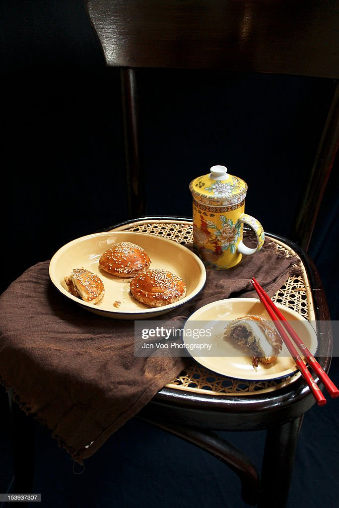 Chinese BBQ Pork Flaky Pastries : Stock Photo