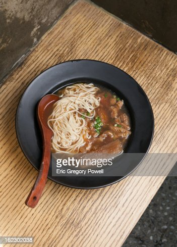 Chinese Beef Noodles on table : Stock Photo
