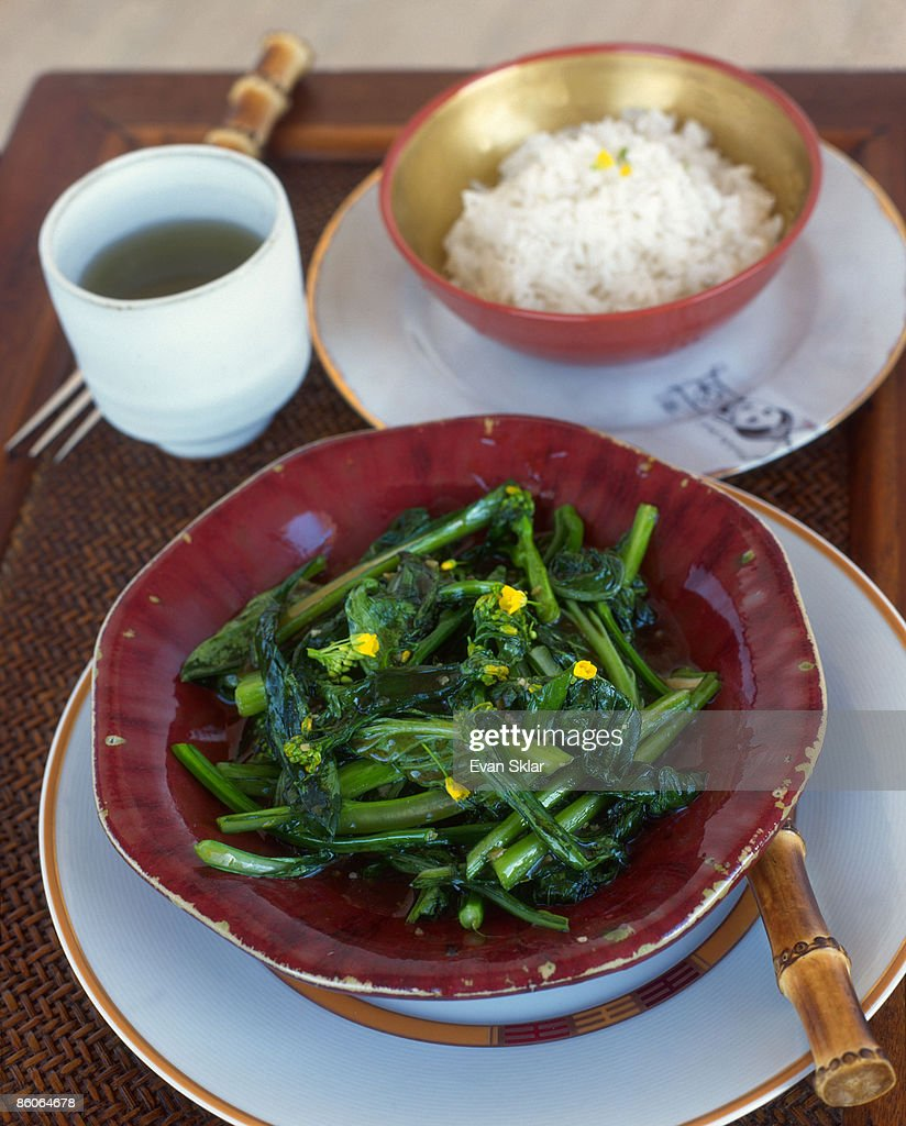 Chinese broccoli , green tea , and rice : Stock Photo