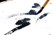 Chinese brushes draw on white papers