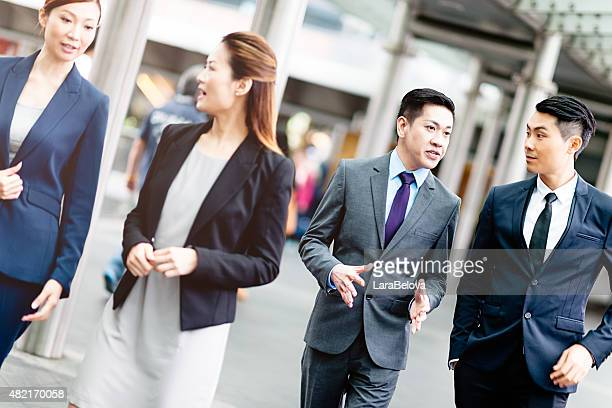 Chinese business people walking on the street