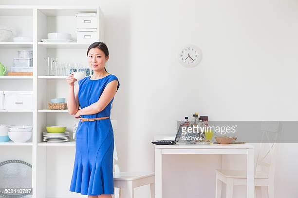 Chinese Business Woman Taking a Break