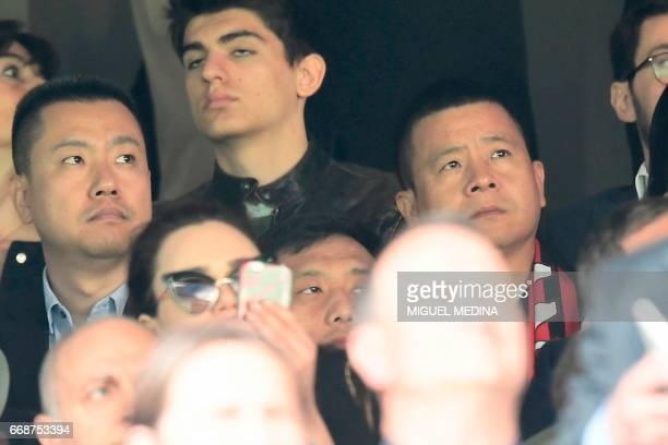 Chinese businessman and new owner of the AC Milan football club Yonghong Li is seen in the stands before the Italian Serie A football match Inter...