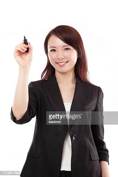 Chinesische Geschäftsfrau Schreiben Lächeln auf weißem Hintergrund
