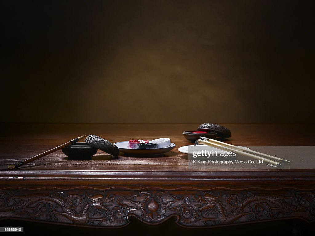 Chinese calligraphy still life : Stock Photo