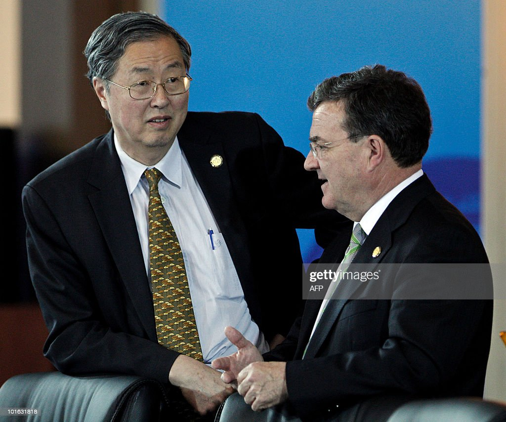 Chinese Central Bank Governor Zhou Xiaochuan (L) ttalks with Canada Finance Minister James Flaherty (R) during the G20 Finance Ministers and Central Bank Governors Meeting in Busan on June 5, 2010. Finance ministers from the world's leading nations sought to narrow differences on key banking reforms, wrapping up a two-day meeting aimed at safeguarding fragile economic recovery.