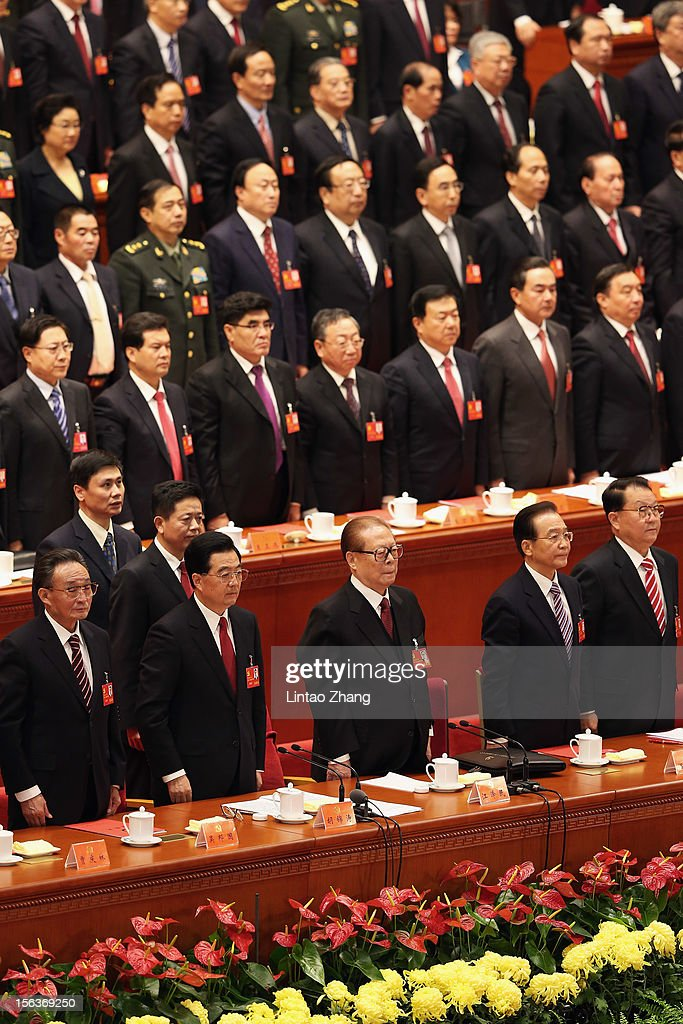Chinese Chairman and Party Secretary of the National Peoples Congress Wu Bangguo, Chinese President Hu Jintao, former president Jiang Zemin,Premier Wen Jiabao and Li Changchun a member of the Standing Committee of the Political Bureau of the Communist Party of China (CPC) Central Committee with members of the Presidium stand during the closing of the 18th Communist Party Congress at the Great Hall of the People on November 14, 2012 in Beijing, China. The Communist Party Congress will convene from November 8-14 and will determine the party's next leaders.