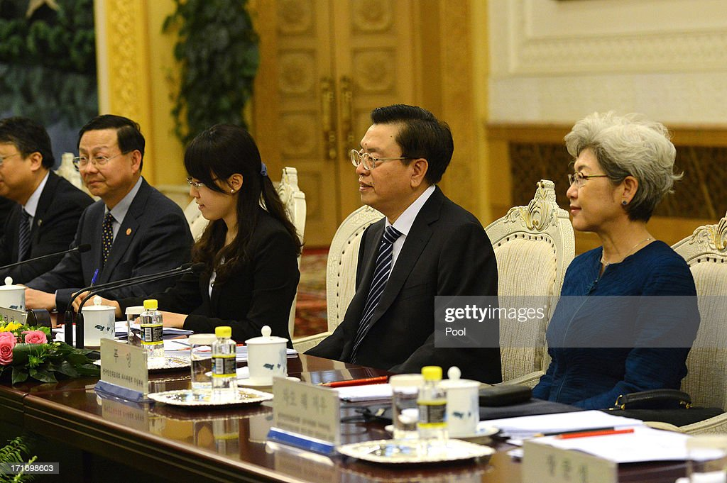 Chinese Chairman of the National People's Congress Zhang Dejiang (2nd R) attends a meeting with South Korean President Park Geun-Hye (not in picture) at the Great Hall of the People on June 28, 2013 in Beijing, China. South Korean President Park Geun-Hye is on a four-day visit to China.
