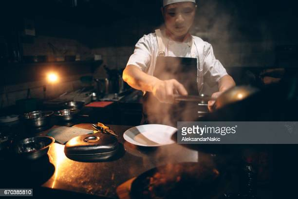 Chinese chef cooking