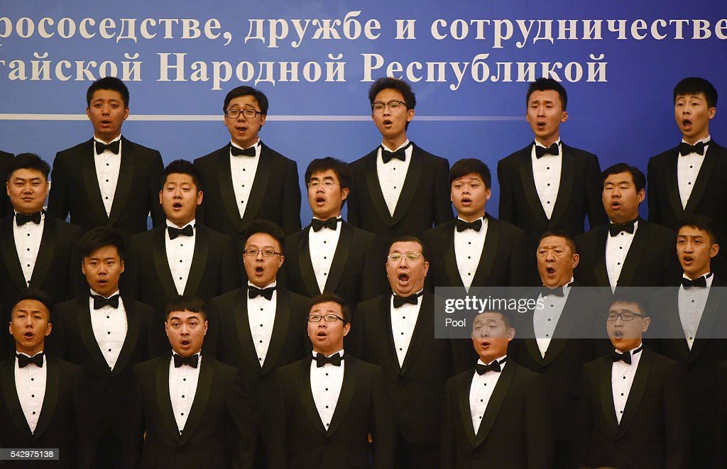 A Chinese choir sings during the a ceremony marking the15th anniversary of the signing of the China-Russia Treaty on Good neighborliness, Friendship and Cooperation, in Beijing's Great Hall of the People on June 25, 2016 in Beijing, China. Russian President Vladimir Putin is in China to discuss more economic and military cooperation between the two countries.