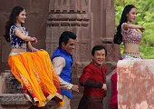 Chinese cinema actor Jackie ChanBollywood actor Sonu Soodand actress Amrya Dasturdance on set with other performers as they shoot a scene of the...