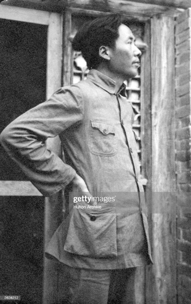 Chinese communist leader Mao Tse-tung (1893 - 1976) outside the University of Kangdah.