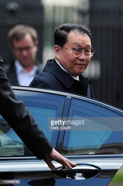 Chinese Communist Party official Li Changchun a senior member of China's Politburo Standing Committee arrives in Downing Street in central London on...