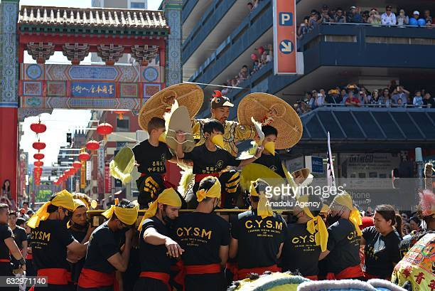 Chinese community take part in celebrations for the Chinese New Year on January 28 2017 in Melbourne Australia Chinese people celebrating the Lunar...
