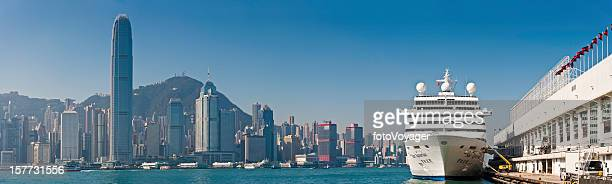 Chinese cruise ship in Hong Kong Harbour