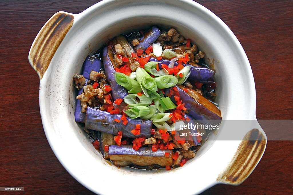 Chinese cuisine, braised eggplant and minced pork : Stock Photo