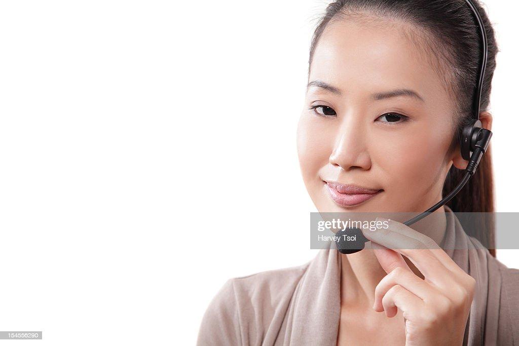 Chinese Customer Service Woman Wearing Headset