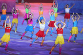 Chinese dancers perform during the closing ceremony for the Nanjing 2014 Summer Youth Olympic Games at the Nanjing Olympic Sports Centre on August 28...