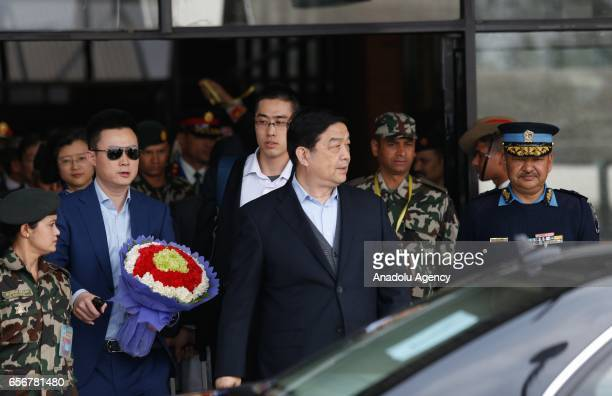 Chinese Defence Minister Chang Wanquan arrives at Tribhuvan International Airport in Kathmandu Nepal on March 23 2017 Minister Chang Wanquan arrived...