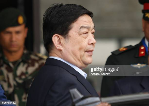 Chinese Defense Minister Chang Wanquan arrives at Tribhuvan International Airport in Kathmandu Nepal on March 23 2017 Minister Chang Wanquan arrived...