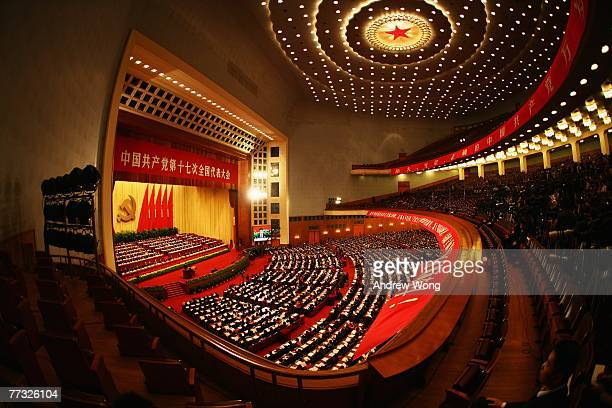 Chinese delegates attend the opening session of the fiveyearly Chinese Communist Party Congress at the Great Hall of the People October 15 2007 in...