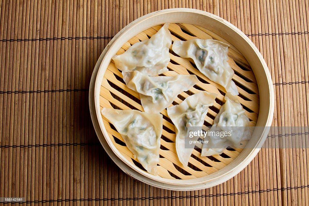 Chinese Dim Sum Dumplings in Steamer : Stock Photo