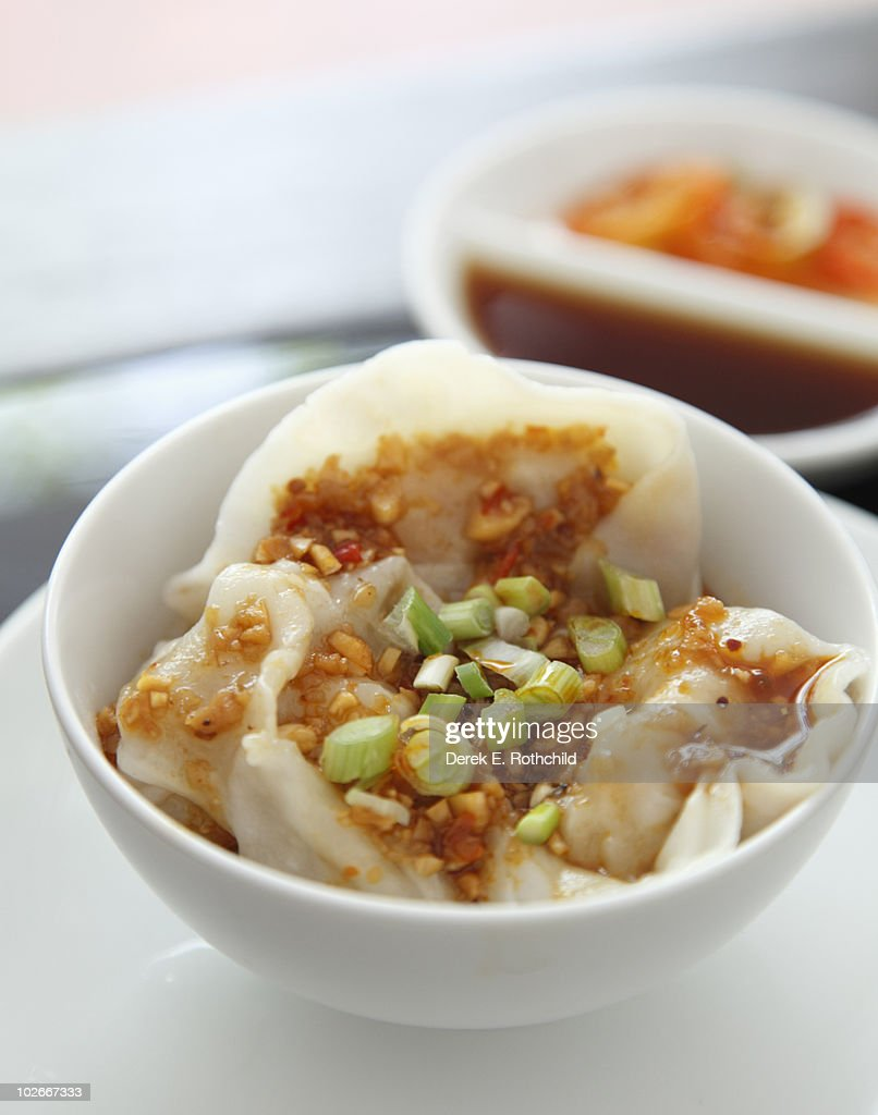 Chinese DIm Sum seafood dumplings with dipping sau : Stock Photo