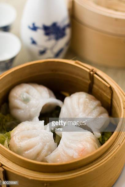 chinese Dimsum 'Hagao' in bamboo basket