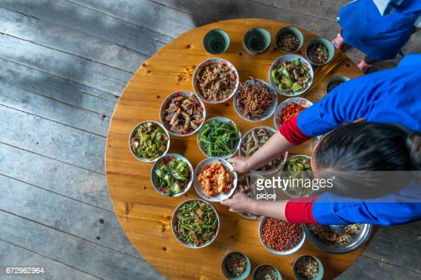 Chinese dinner ready at home, high angle view
