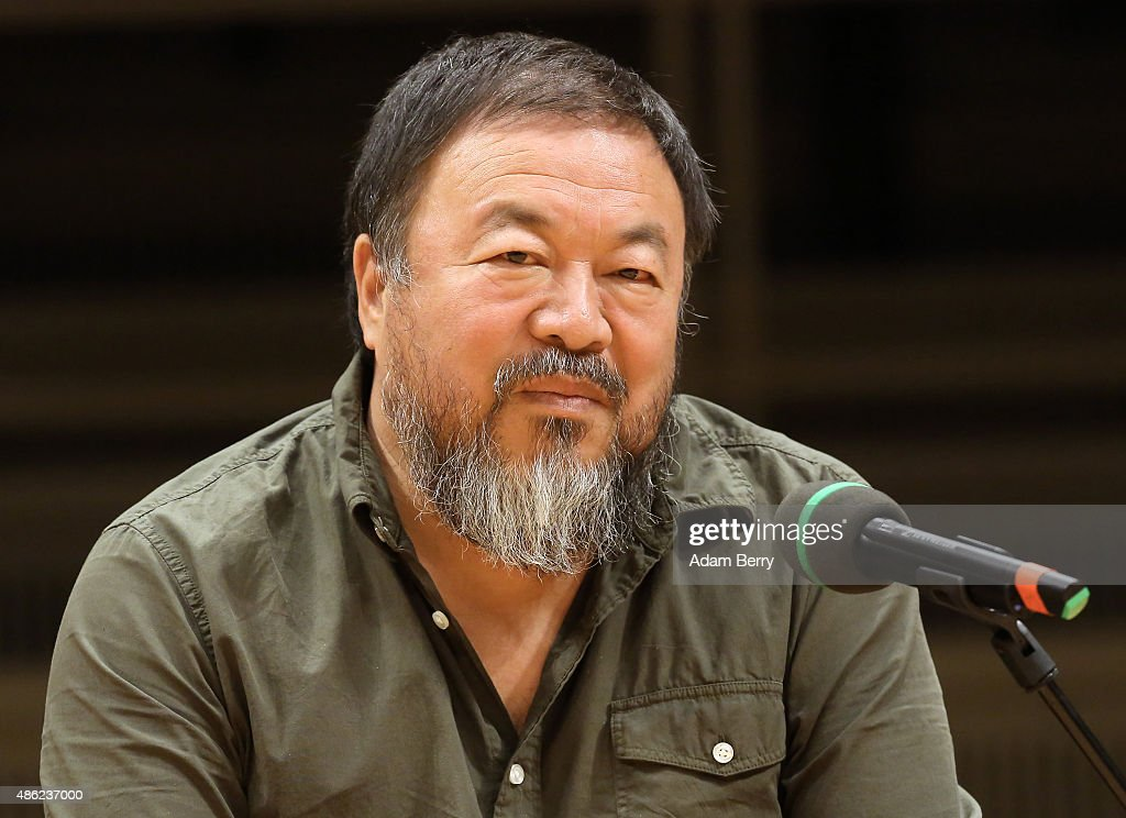 Chinese dissident artist <a gi-track='captionPersonalityLinkClicked' href=/galleries/search?phrase=Ai+Weiwei&family=editorial&specificpeople=4331218 ng-click='$event.stopPropagation()'>Ai Weiwei</a> attends a panel discussion at the Berlin International Literature Festival on September 2, 2015 in Berlin, Germany. Ai and poet Liao Yiwu participated in a conversation about literature, contemporary art, and their relationships with Chinese authorities. Liao had been imprisoned for four years in 1989, and in 2011, Ai was detained and beaten by security officials and then imprisoned for 81 days, only to reclaim his passport this past July, after which he went to Germany to meet his his partner Wang Fen and their son Ai Lao.