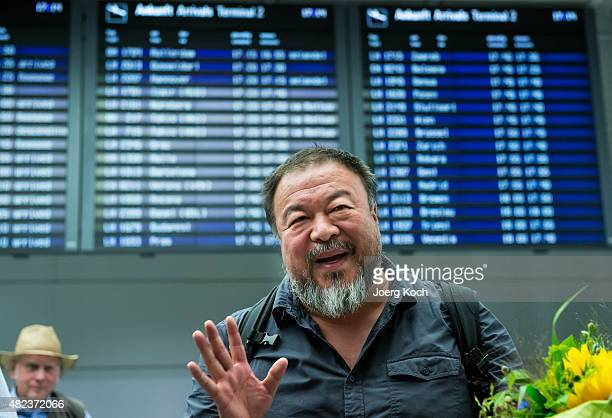 Chinese dissident artist Ai Weiwei upon his arrival at Munich Airport on July 30 2015 in Munich Germany This is his first trip abroad since Chinese...
