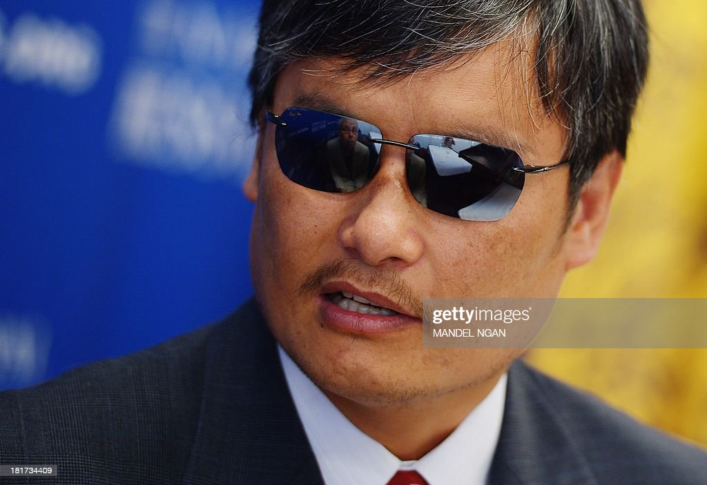 Chinese dissident Chen Guangcheng chats with Sophie Richardson China Director at Human Rights Watch before speaking on China's treatment of...