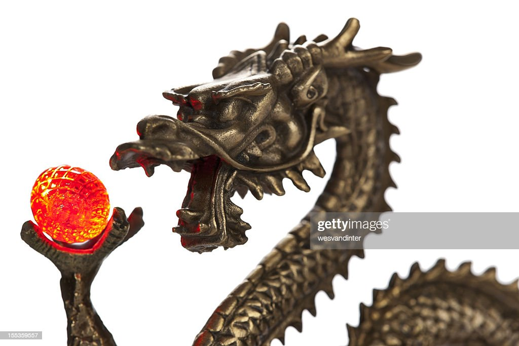 Chinese Dragon and Glowing Red Orb : Stock Photo