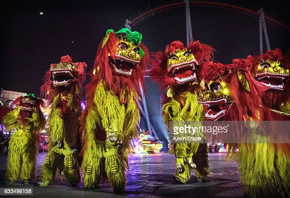 Chinese dragon dancers perform at a fair at a local park on the fifth day of the Chinese Lunar New Year on February 1 2017 in Beijing China China is...