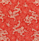 Chinese Dragon Fabric Embroidery