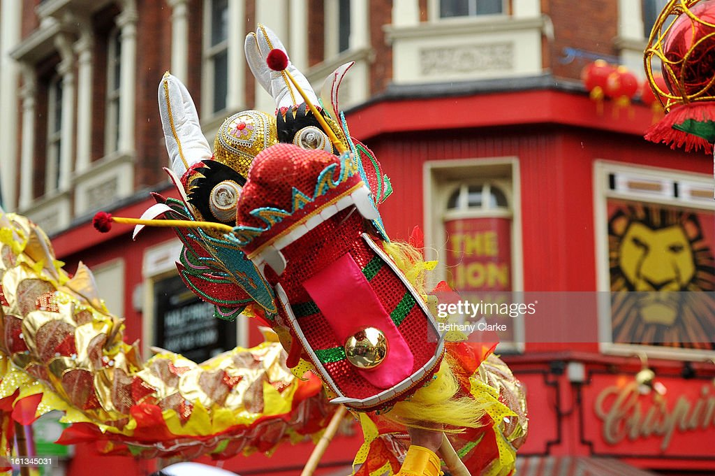 A Chinese dragon in the New Year paraded on February 10, 2013 in London, England. London's Chinese community celebrate the start of the Year of The Snake with traditional dancing, music and fireworks.