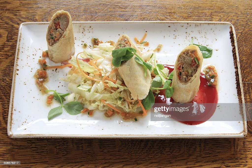 chinese duck spring roll : Stock Photo