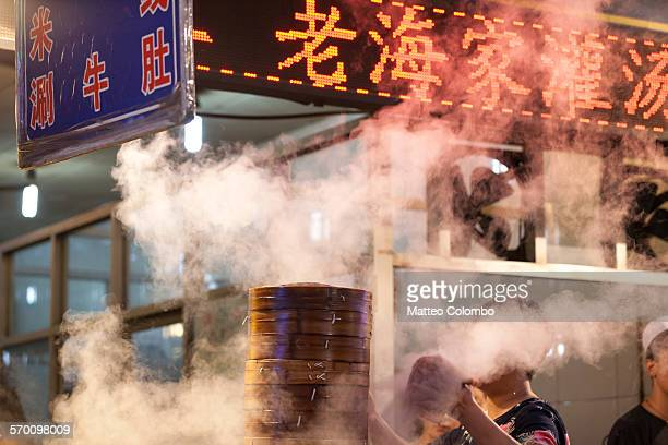 Chinese dumpling steamer in Xian street at night