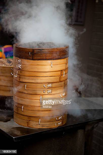Chinese dumpling steamer in Xi'An street food restaurant