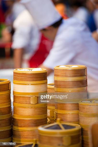 Chinese dumpling steamers in Bangkok Chinatown