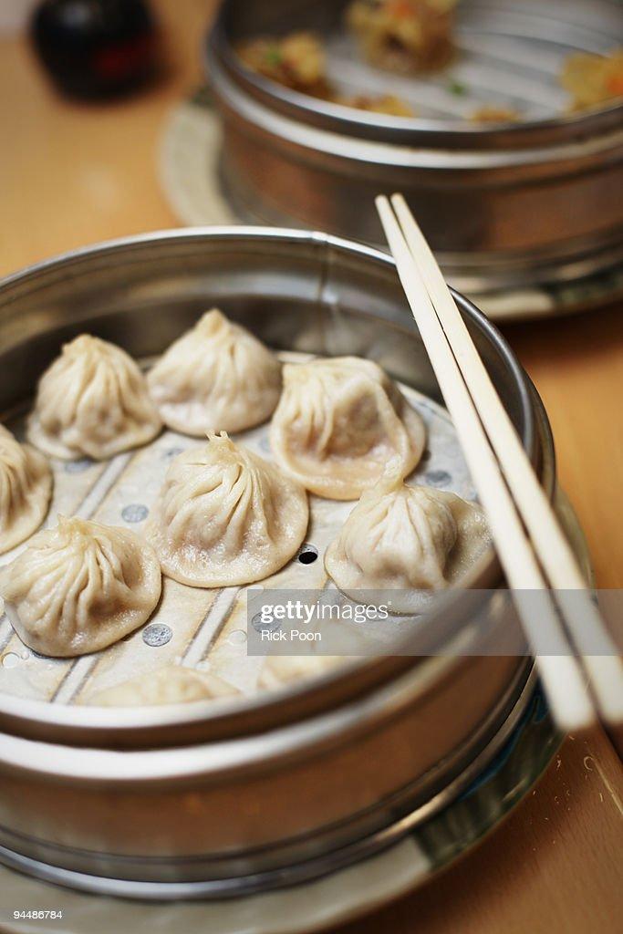 Chinese dumplings in steamer : Stock Photo