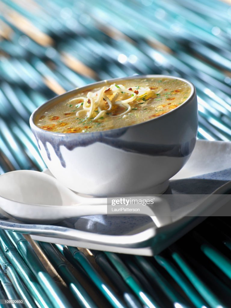 Chinese Egg Drop Soup With Noodles : Stock Photo