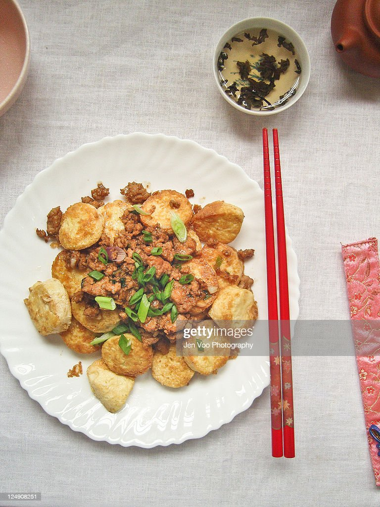 Chinese egg Tofu with Minced Pork : Stock Photo