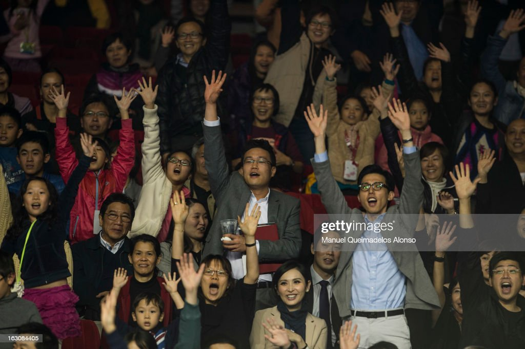 Chinese fans cheer during the opening ceremony of the Hong Kong Showdown at the Asia-World Expo on March 4, 2013 in Hong Kong, China.